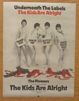 "THE PLEASERS KIDS ARE ALRIGHT 12"" x 15"" FULL PAGE MAGAZINE ADVERT 1978 POWER POP"