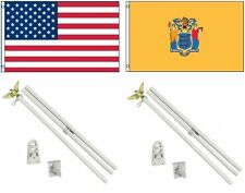 3x5 Usa American & State of New Jersey Flag & 2 White Pole Kit Sets 3'x5'
