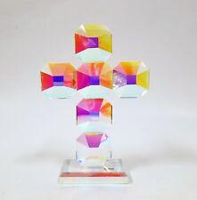 NEW OLEG CASSINI IRIDESCENT CRYSTAL CUT GLASS SQUARE CROSS FIGURINE PAPER WEIGHT