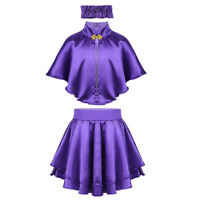 Girls Kids Fancy Dress Costume Outfit Tutu Skirt + Cape Cosplay Party Halloween