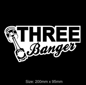 THREE BANGER Vinyl Car Decal Sticker Suzuki Ford BMW i8 MINI 3 Cylinder Engine