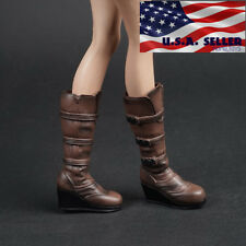1/6 Women Shoes Brown Slope High Heeled Combat Boots For Phicen Hot Toys ❶USA❶