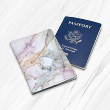 Rose Gold White Marble Genuine Leather Travel Passport Holder Case Cover Wallet