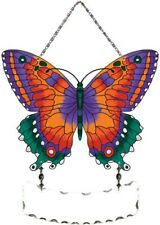 Joan Baker Suncatcher-SFS2006-Red/Teal Butterfly Stained Glass Window Hanging