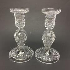 """Pair Waterford Crystal Glass Lismore 7 1/4"""" Candlesticks Round Base Marked"""