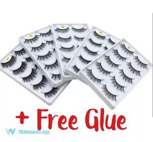5 Pair 3D Mink False Eyelashes Wispy Cross Long Thick Soft Fake Eye Lashes UK❤️