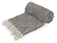 100% Cotton Herringbone Extra Large Sofa Bed Throw Rug Blanket 130 x 160 CM