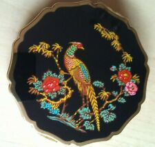 Vintage Stratton England Pheasant Powder Compact Mirror 1950s with stickers