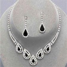 Crystal Diamante Wedding Bride Bridal Necklace Earrings Jewellery Set Black Drop
