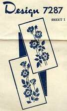 Rose Panel Embroidery Transfers Vintage Brooks Wheeler? 7287