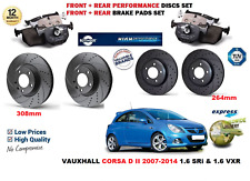 FOR VAUXHALL CORSA D 07-14 FRONT REAR PERFORMANCE DRILLED BRAKE DISCS + PADS KIT