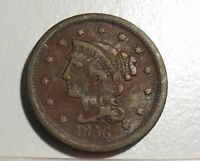 1856 Braided Hair Large Cent 1c circulated U. S. coin