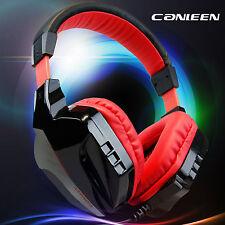 Noir Rouge Ordinateur Gaming Casque OverEar Bandeau Casque pour PC portable 3.5 mm