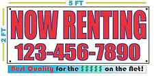 NOW RENTING w CUSTOM PHONE Banner Sign NEW Larger Size Best Price for The $$$