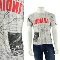 80s Vintage Graphic Print Indiana Road Map Double Sided T Shirt Mens S/M