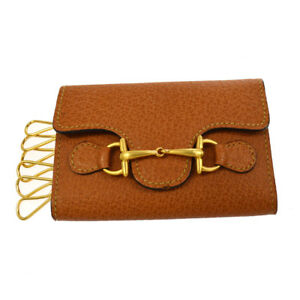 Authentic GUCCI Vintage Horsebit 6 Hooks Key Case Brown Leather A41393k