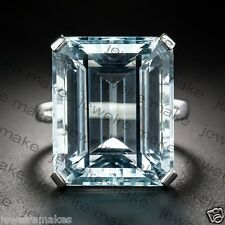 13*16 MM Aqua Light Emerald Cut Diamond Vintage Style Engagement Ring 925 Silver