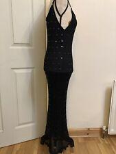 Vestido Largo De Crochet Negro Estilo Vintage tiene detalles de lentejuelas Talla Pequeña Nuevo