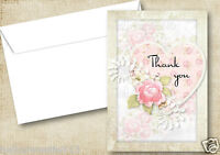 PERSONALISED HEARTS AND ROSE THANK YOU CARDS FOR ANY OCCASION BIRTHDAY,WEDDING