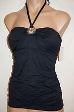 NWT Michael Kors Swimsuit Tankini Top Shirred Bandini Black Sz S