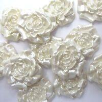 12 Ivory Pearl White Roses edible sugar flowers wedding cake cupcake decorations