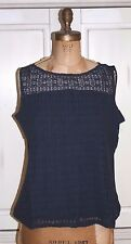 Talbots~NWT~NAVY BLUE~LACE FRONT KNIT SWEATER SHELL~1X~R$80