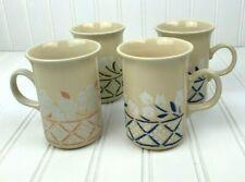 Churchill England Tall Mug Can Tan Cream Floral Lattice Cup Set of 4