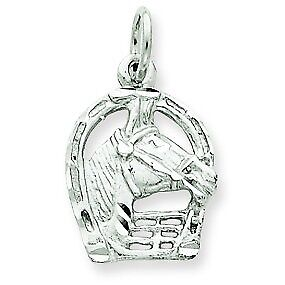 14K White Gold Diamond Cut Horse Head in Horseshoe Good Luck Charm For Necklace