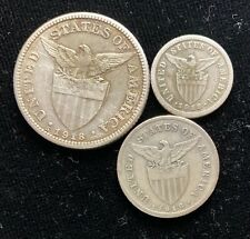 1918s US-Philippines 10, 20, 50 centavos Silver Coin (3pcs)- lot #7
