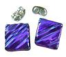 DICHROIC Earrings Violet Purple Amethyst Ripple Striped Textured Post 8mm STUDS