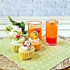 Dollhouse Miniatures Food Bakery Cupcake Orange Juice Set Mini Tiny Barbie Decor