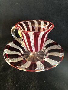 Vintage Murano Red & White Latticino Art Glass Delicate Demitasse Cup & Saucer