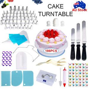 186pcs Cake Decorating Tools Kit Turntable Rotating Baking Flower Icing Nozzle