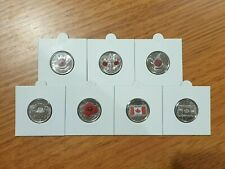 CANADIAN 2004 - 2015 25c REMEMBRANCE POPPY AND FLAG 7 COIN SET - UNC FROM ROLLS