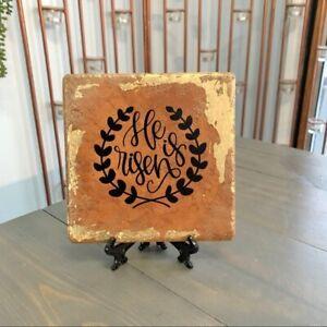 He is Risen Handmade Tile Sign Religious Easter Eclectic Revival Handmade Decor