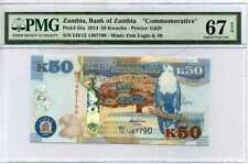 ZAMBIA 50 KWACHA 2014 P 55 COMM. SUPERB GEM UNC PMG 67 EPQ HIGH