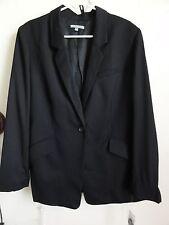 ANNE KLEIN ONE BUTTON LONGSLEEVE WOOL JACKET, Black, Size 14, MSRP $395