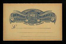 Postal Stationery H&G #23 Nicaragua postal card 1893 Vintage Message & Reply