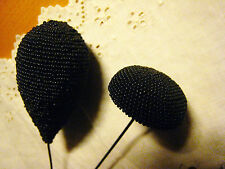 EPINGLES à CHAPEAU anciennes PERLES de JAIS tissées ART DECO LOT de 2 épingles