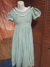 Vintage Peasant Green flowered Dress W/ Bonnet