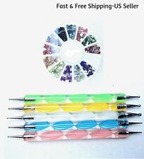 5 Two-Way Nail Art Dot Pens & 1 Wheel 12-Color Rhinestones Gems Glitter Manicure