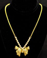 18k Solid Yellow Gold Natural Diamond Necklace  Bow Ribbon 2.75 ct Baguette