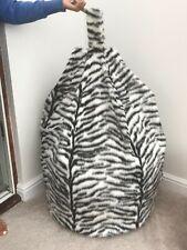 Bean bag cover only black & white tiger animal print faux fur 6 cubic ft size