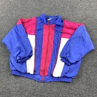 Vintage Jean Perris Women's Retro Windbreaker Jacket Large Collared Full Zip
