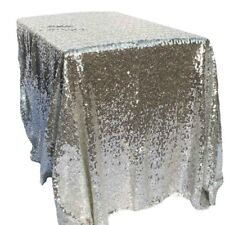 """40""""x 60"""" Silver Sequin Tablecloth Rectangle Table Cover Wedding Party Decoration"""