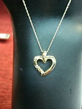 10K YELLOW GOLD 3 DIAMOND HEART PENDANT & CHAIN - OH SO SWEET