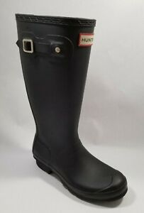 Hunter Original Tall Black Matte Rubber Rain Boots Kids Youth 5 Women 6 EU 37