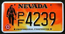 """NEVADA """" FIREFIGHTER - FIRE FIGHTER - FLAMES """" MINT """" NV Specialty License Plate"""