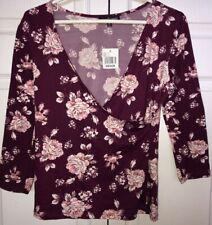 Nwt! Almost Famous Size Medium 3/4 Sleeve V-neck Floral Shirt