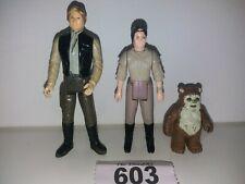 Vintage Star Wars Figures: Han Solo + Princess Liea, Endor + Wicket Ewok 603